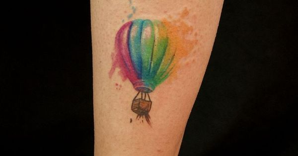 Watercolor hot air balloon tattoo rainbow would write for Adventure is out there tattoo