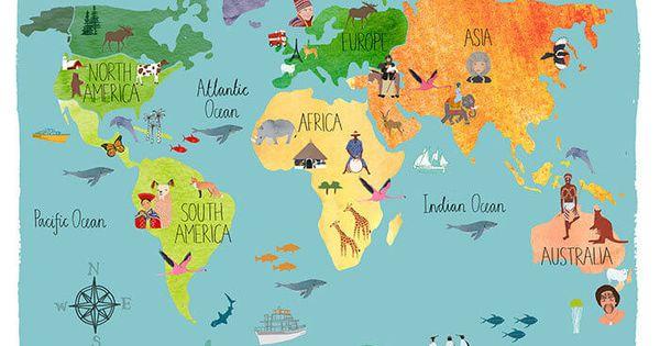 Bestel een mooie foto van wereldkaart kinderen wereldkaart kinderen en wereld - Slaapkamer lay outs kindje ...