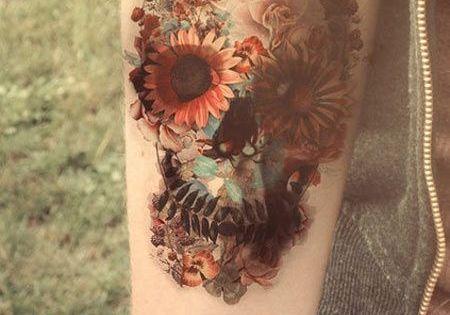 floral skull? InkedMagazine skull floral tattoo tattoo Inked ink art