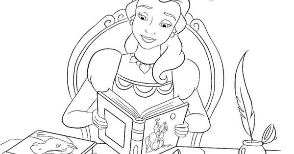 Belle Reading Coloring Pages