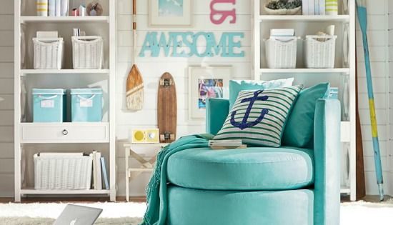 Aqua Blue Swivel Chair From Pottery Barn Teen For The