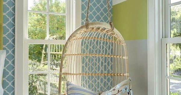 Cuartos de ni as silla colgante de mimbre papel tapiz - Silla colgante ikea ...