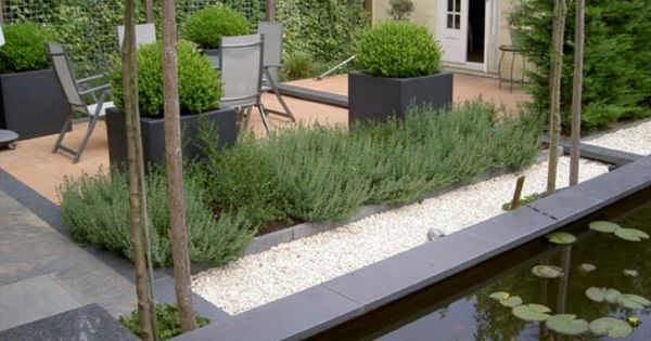 Strakke mediterrane tuin gardens i like pinterest for Moderne waterpartijen tuin