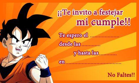 Invitacion De Cumpleaños De Dragon Ball Z Cumpleaños De