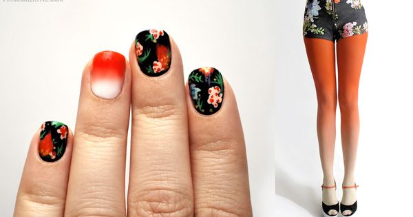Floral + Gradient Manicure Inspired by : BZR Ombre Tights in Sunset
