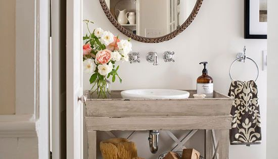 powder room - vintage sink and mirror .....Small bathroom design ~ neutral