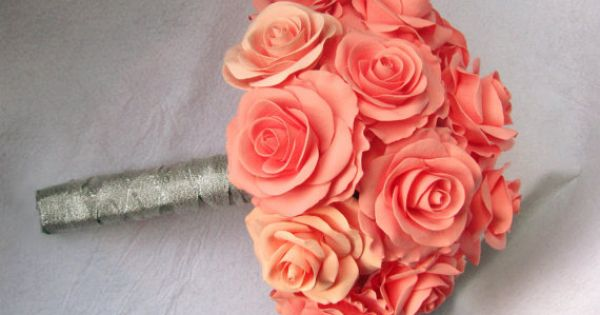 Salmon rose wedding bouquet - coral - Bridal bouquet. dark coral, peachy