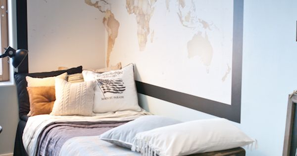 Large world wall map and vintage suitcases - boys room ideas