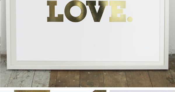 LOVE. Gold Foil Print (640 x 450mm). Baby girl room