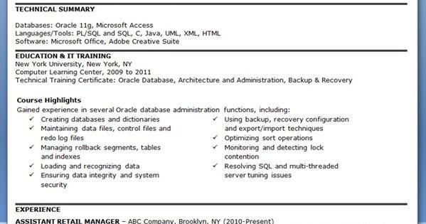database administrator resume entry level