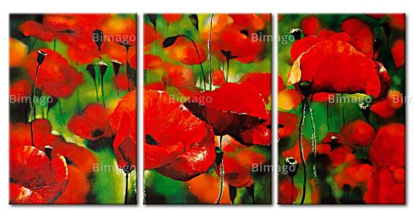 coquelicots rouges sur tableau triptyque fleurs. Black Bedroom Furniture Sets. Home Design Ideas