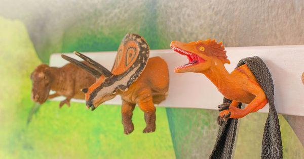Perchero para ni os de dinosaurios - Perchero pared infantil ...