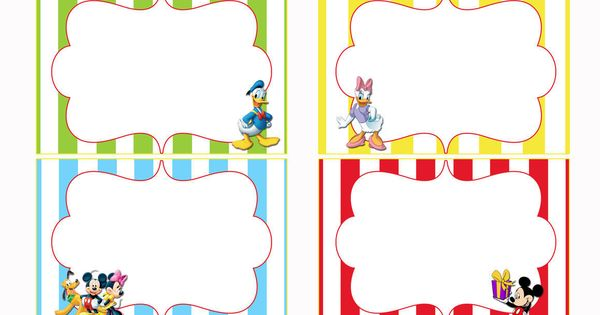 Free Printable Mickey Mouse Food Labels | Party ideas for ...