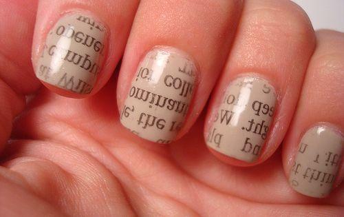 "Nail polish + vodka + newspaper ""Paint nails a light color, let"