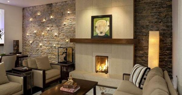 deko ideen furs wohnzimmer deko steinwand wohnzimmer and ...