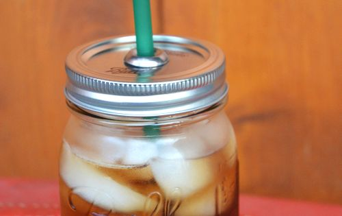 No way. DIY Mason jar to-go cup! Poke hole in lid and