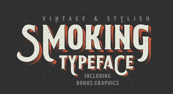 Smoking typeface + Illustration with vintage western font