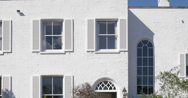 House In Farrow Ball 39 S Wimborne White Exterior Masonry Paint Painted Brick Pinterest