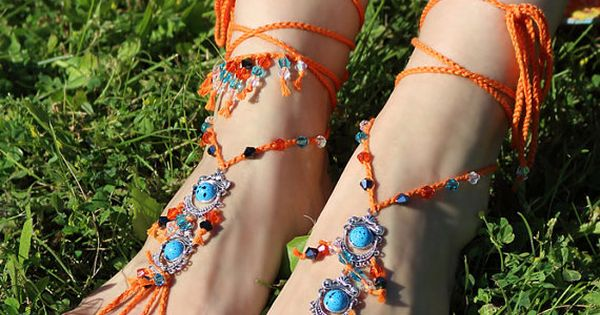 Hippie barefoot sandals Gypsy footless sandles Boho foot jewelry Bare feet nude shoes Bohemian festival anklet Yoga bottomless sandal by Elvish Things