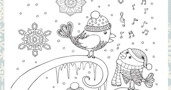 Singing Birds Winter Coloring Page for Adults Continue