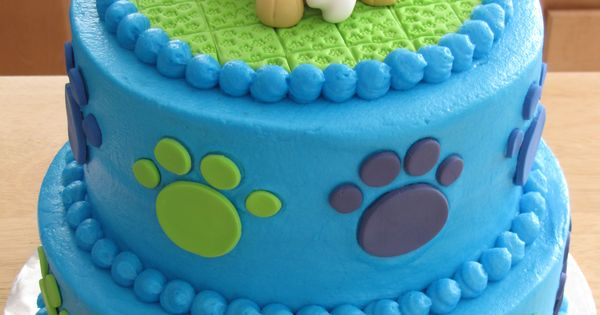 Puppy Birthday Buttercream Covered Cake With Fondant