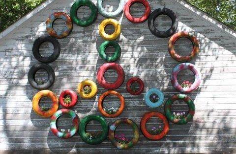 Brico jardin - pots à fleurs et tabourets en pneus recyclés ...