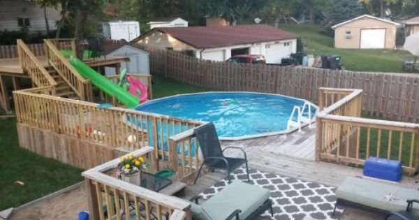 Above Ground Pool With Deck And Water Slide Tree House