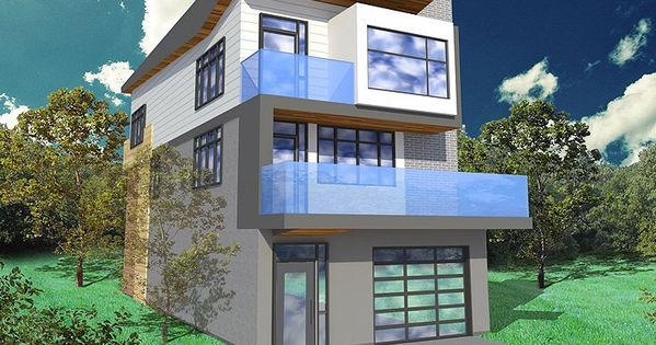Narrow Lot House Plan 056h 0005 Modern Too Busy But Good Proportions Like The Window D Modern Style House Plans Contemporary House Plans Modern House Plans
