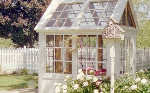Garden Shed made from old windows! Use for greenhouse or potting shed!