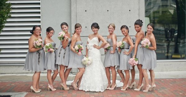 Pale grey bridesmaids dresses | Ideas for Bridal Party Style ...