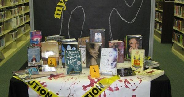 ... book dispalys teen mystery book library display bulletin board ideas