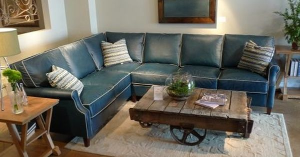 Blue Leather Sectional With Contrast White Piping Country