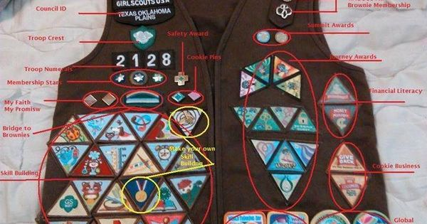brownie vest with all the badges and official insignia