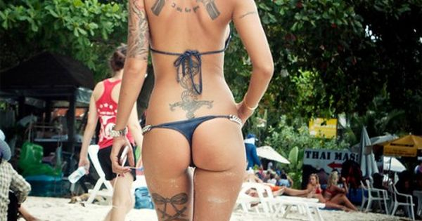 Lace up leg tattoo legtattoo lace guns bikini thong ass beach