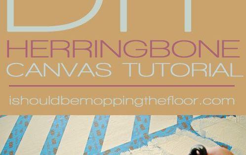 DIY Herringbone Canvas Art | Step-by-step instructions to create a fun piece