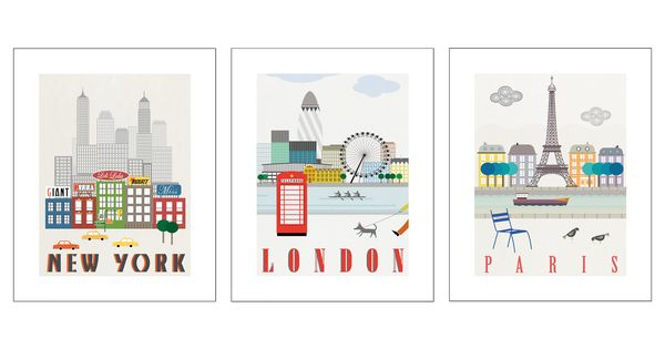 Ikea trilling poster set of 3 london paris new york for Ikea article number