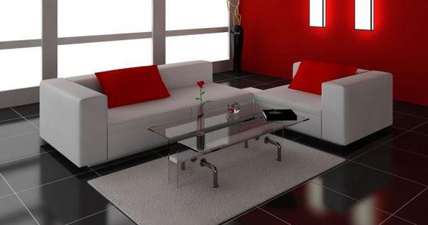 Decorar sal n en rojo negro y gris suelo oscuro casa for Decorar piso gris
