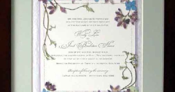 Pressed Flower Art Framed Wedding Invitations Wedding Planning