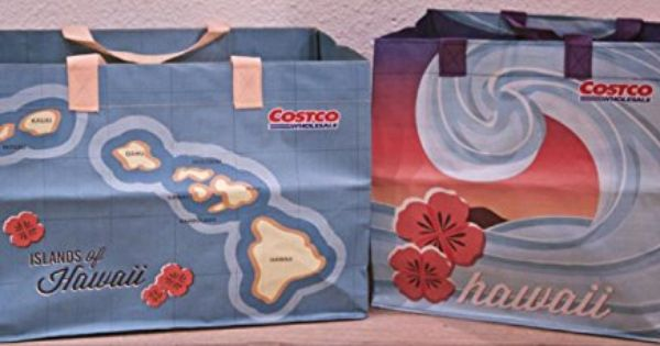 2 Costco Hawaii Reusable Eco Friendly Shopping Bags Tote