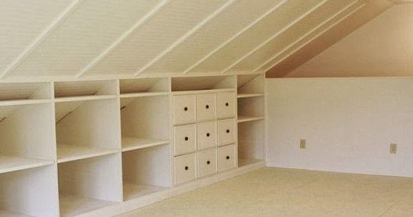 Binnenkant onder het schuine dak handy pinterest zolder kasten en opslag - Kantoor onder het dak ...