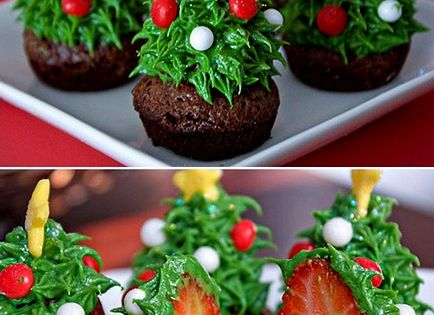 Easy holiday dessert...bake a brownie in small muffin tins. Turn strawberry upside