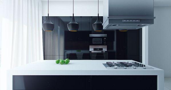 Sleek Modern Kitchen Island With Black Mini Pendant Lights