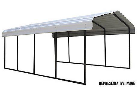 Arrow Steel Carport 12 X 24 Ft Black Eggshell At Tractor Supply Co Steel Roof Panels Steel Carports Metal Carports