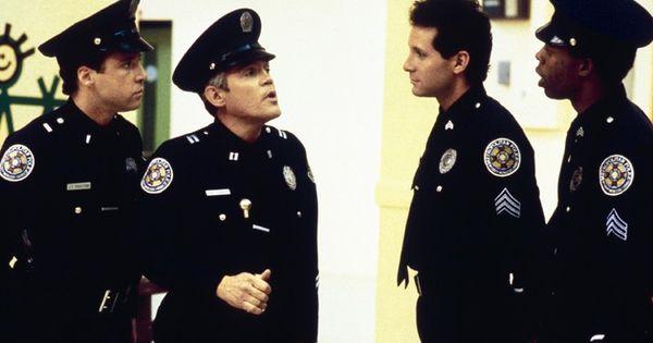 Police Academy 4 Citizens On Patrol Publicity Still Of Steve Guttenberg G W Bailey Police Academy Police Academy Movie Steve Guttenberg