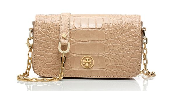 Tory Burch Croc Embossed Robinson Mini Bag. Love.