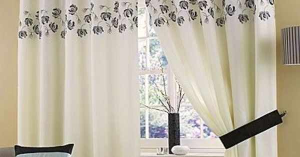 Cream Black Silver Lined Ring Top Eyelet Voile Curtains 46