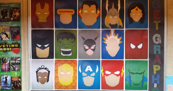 Minimalist Classroom Activities ~ Minimalist superhero display in local library bulletin