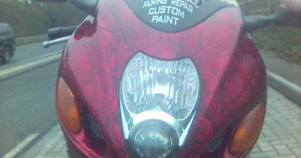 My Gsx1300r Hayabusa Last Of The Unrestricted One I Did The Candy Red Marble Paint Job On It This Bike Got Stolen Two Red Candy Paint Job Marble Painting