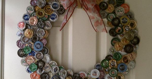 Great idea for the holidays! Bottle Cap Wreath Custom Made to Order