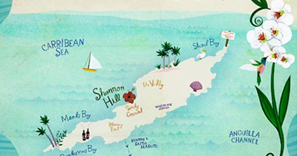 Anguilla map illustration by Anne Smith